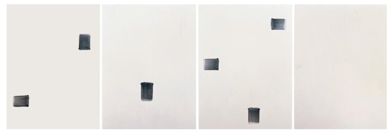 Lee Ufan  Correspondance,1994Huile et pigment sur toile260 x 774 cm