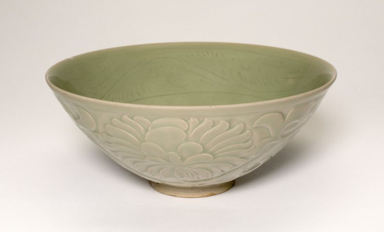 Conical Bowl with Peony Scroll and Leaves, Five Dynasties-Northern Song dynasty, 10th-11th century. Yaozhou ware