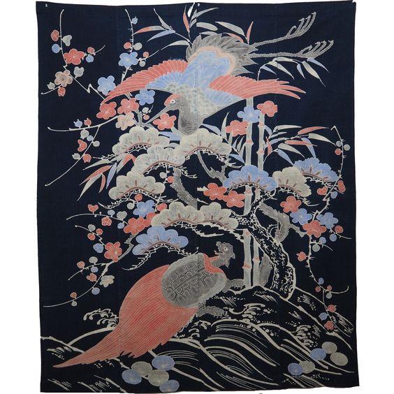 Japanese Tsutsugaki Indigo Cotton Marital Celebratory Futon Cover From Early 1900s. , 126 X 155 cm