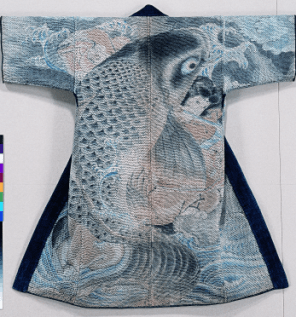 Veste de pompier (kajibanten). Motif Saito Oniwakamaru (Oniwakamaru de la région de Saito, temple d'Enryakuji), Japon, toile de coton, kakie (motifs peints au pinceau et à la teinture), 120,1 x 122,2 cm.