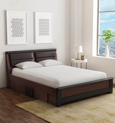 Ryouta Queen Size Bed with Drawer Storage in Wenge Finish