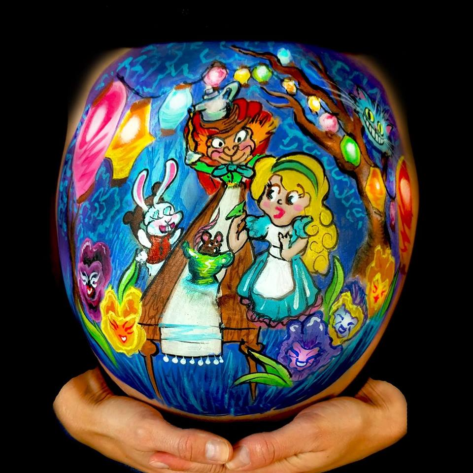 Alice in Wonderland Belly Painting