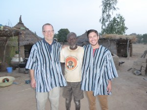 My husband Arne and son Dane with the tailor (photo by Laureen Lund)