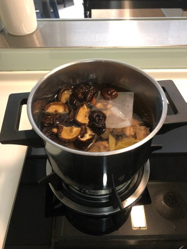 Mushroom and chincken soup in Cooking class in Taipei