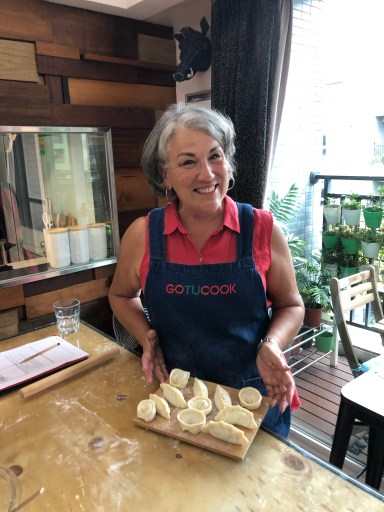 Displaying all the dumplings made by hand in Taipei cooking class