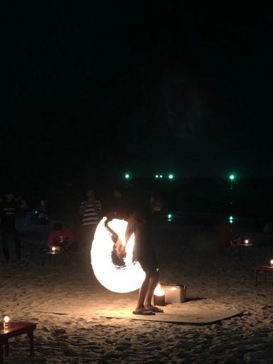 Beach entertainmment at night Cenang Beach