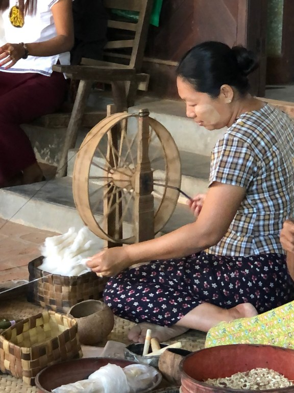 Spinning cotton Bagan Myanmar