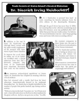 Trade Secrets of Staten Islands Greatest Historian, Dr. Diedrich Irving Kniebocker!