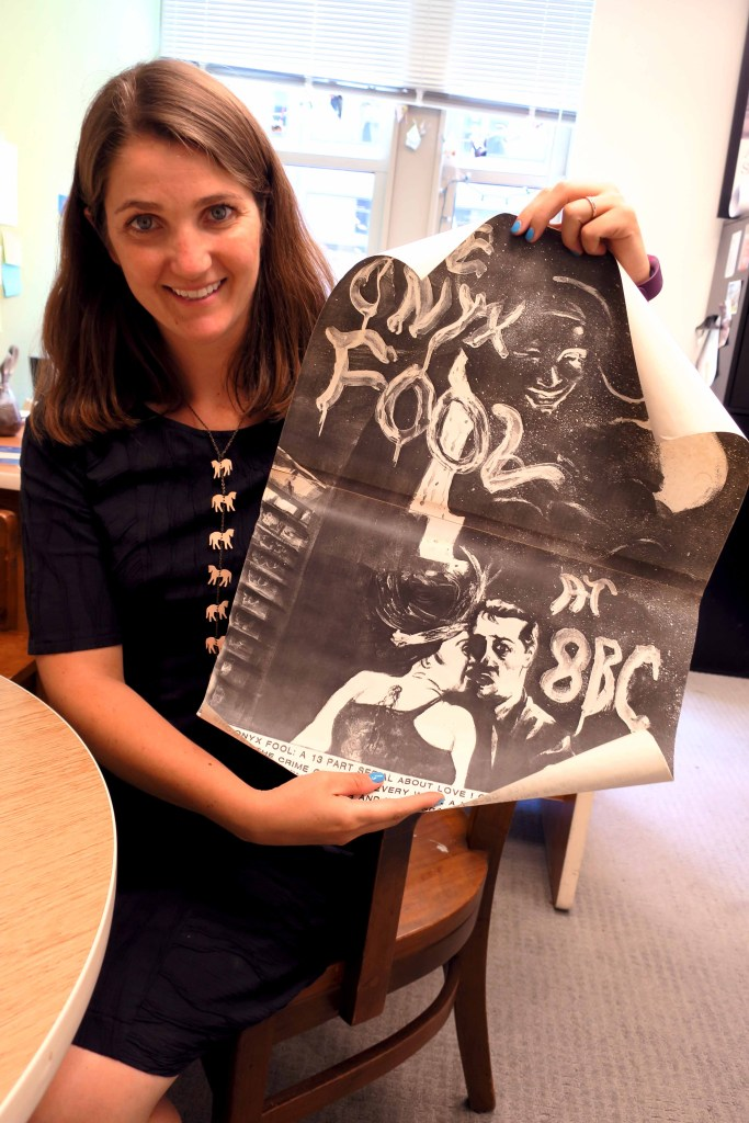 Mary Savig, Smithsonian Curator with Original Art for Onyx Fool Poster from 8BC by Edward Weiss