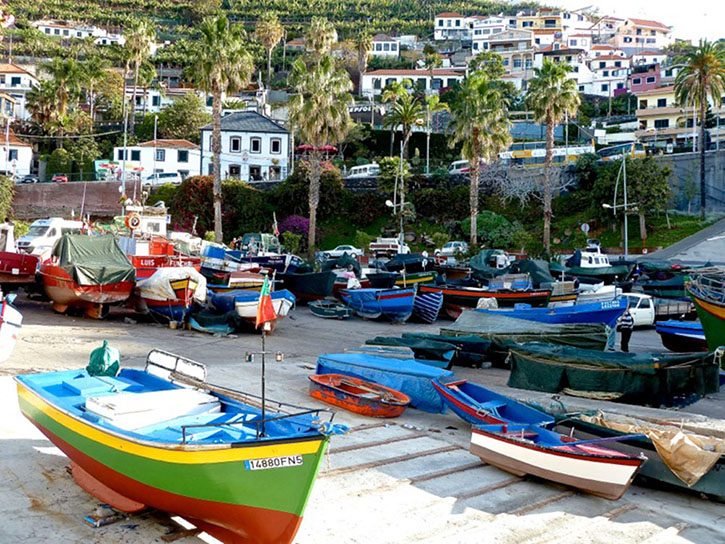 Colourful fishing boats at Cámara de Lobos