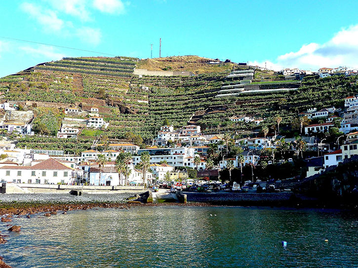 The pretty seafront of Camára de Lobos against a backdrop of terraced banana plantations