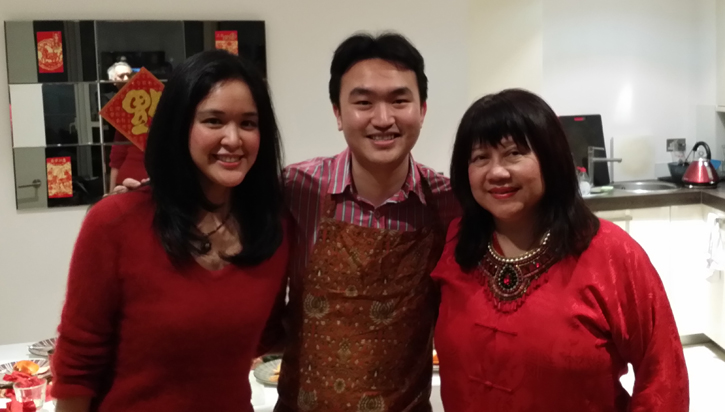 Guan with contented diners - Bettina and Helen after the dinner