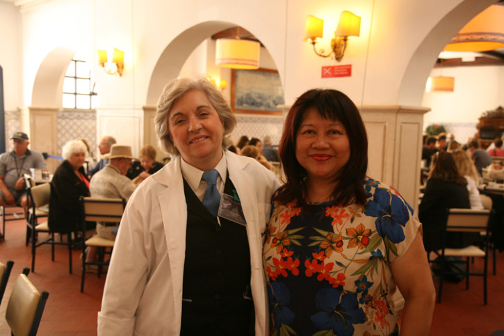 Maria Dulca with Helen after seeing the preparation of the Portuguese Egg Tart