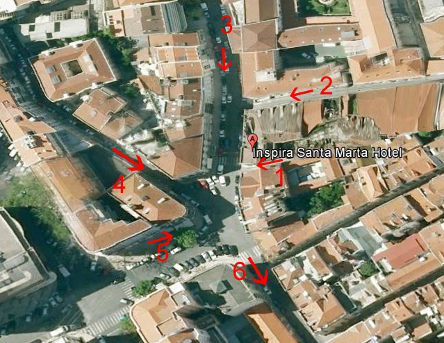 "Google Earth image of Inspire Santa Marta hotel and ""valley"""