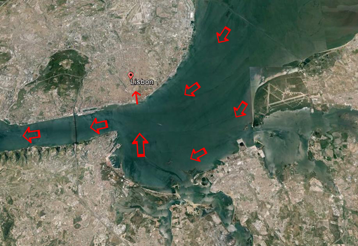 Google Earth image of the River Tagus and Lisbon.