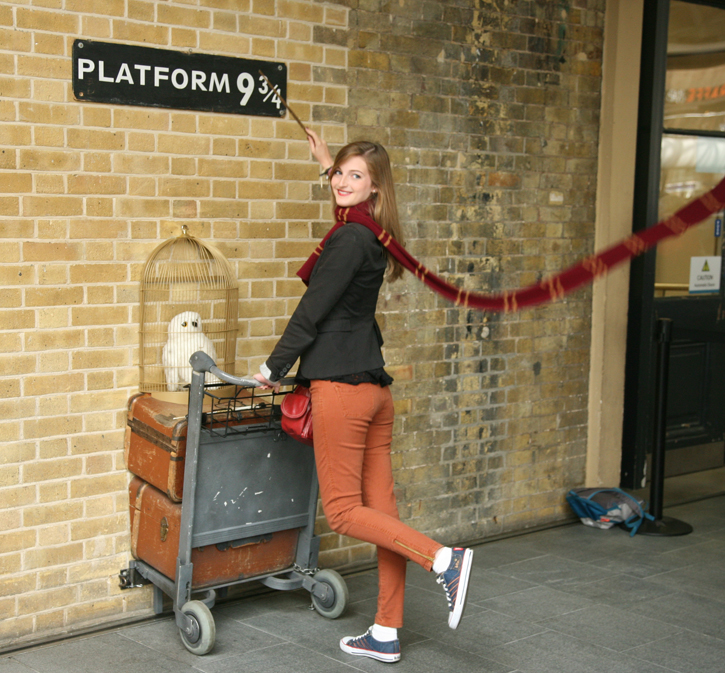Platform 9¾ at Kings Cross Station as described in J K Rowling's Harry Potter.