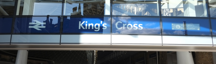 The signage of at Kings Cross Station managed by Network Rail