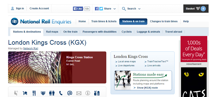 A screenshot of National Rail Enquires defining Kings Cross Station