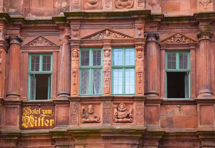 The detail of the façade of the Hotel zum Ritter