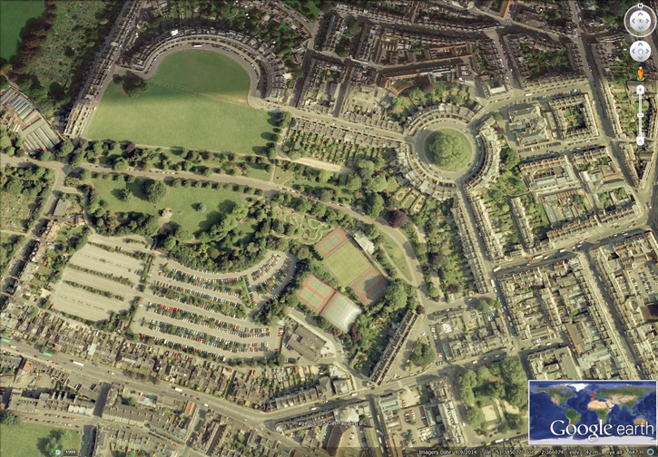 Google Earth Image: The Royal Crescent and The Circle (Layout) Further information of the buildings are discussed in a post - The Mayor's Walking Tour of Bath https://myfacesandplaces.co.uk/the-mayors-walking-tour-of-bath/