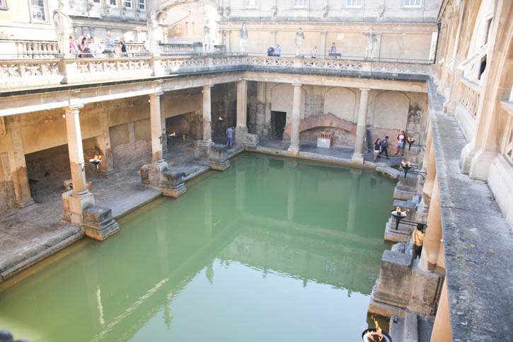 "Roman Baths: A view of the ""original"" pool but the surrounding buildings are 18th Century."