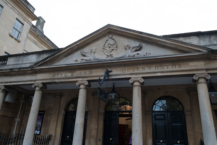 The entrance to the Roman Baths. The buildings are named – King's and Queen's Baths.