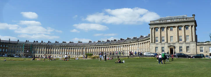 Part of The Royal Crescent from Victoria Park.