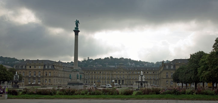 Schlossplatz with the Neues Schloss Palace in the background.