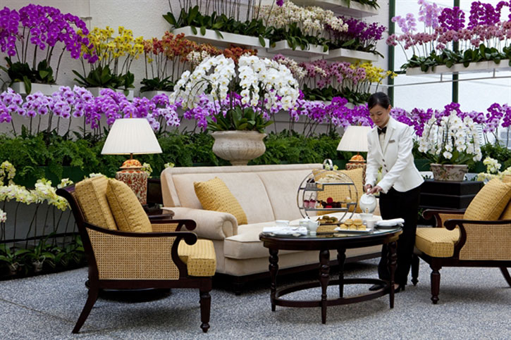 """The tea room with """"1000 orchids"""" at the Majestic Wing – Majestic Hotel Kuala Lumpur - Courtesy of YTL Hotels"""