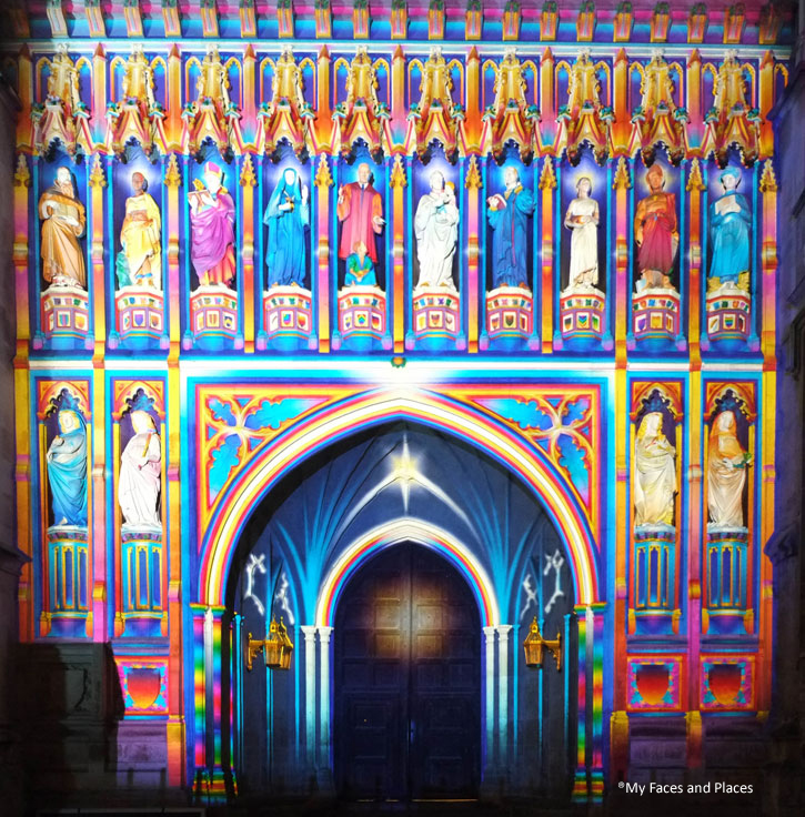 14. The Light of Spirit - One of the best exhibits – a projection of colour on the West Door of Westminster Abbey. It is literally colouring the various mono-colour stone carving. It is done with relevance and precision.