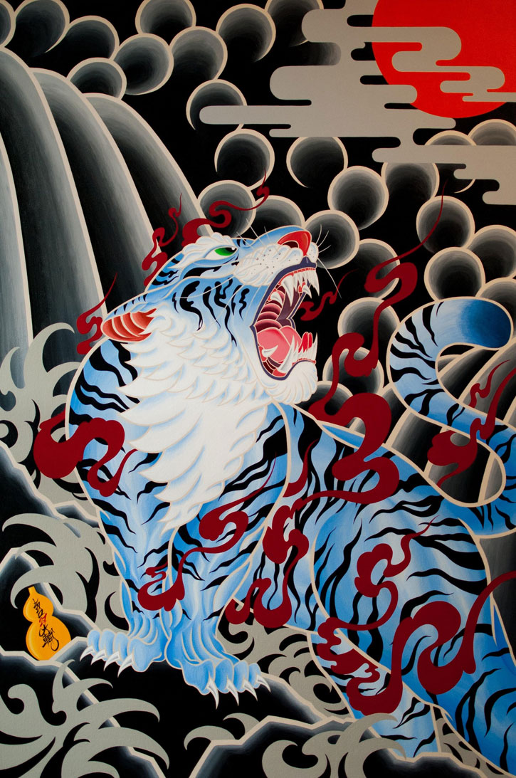 Inazuma a tiger painting by Daisuke Sakaguchi at the Save Wild Tigers gala dinner sold for £12,000 for the charity