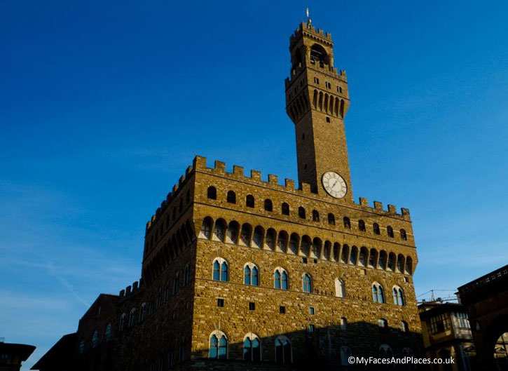 Florences's Palazzo Vecchio, the city town hall overlooks the Piazza della Signoria with the replica of Michelangelo's David and a gallery of statues.