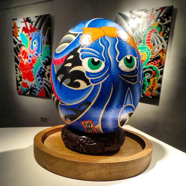 "Daisuke Sakaguchi's hand painted ""Octo-Peony Ostrich Mirai"" Egg"