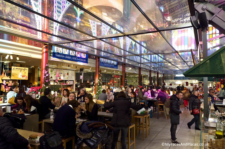 The lively food court at Central Market