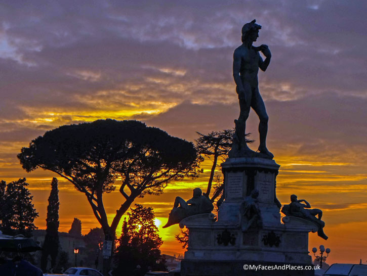 Statue of David at Piazalle Michelangelo at sunset