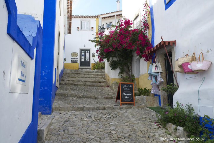 A labyrinth of narrow cobbled streets with white-wash houses festooned with flowers meander through Obidos.