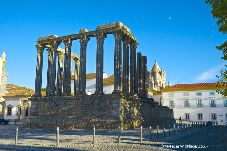 The Roman Temple in the centre of Evora. Evora is the capital of Alentejo.