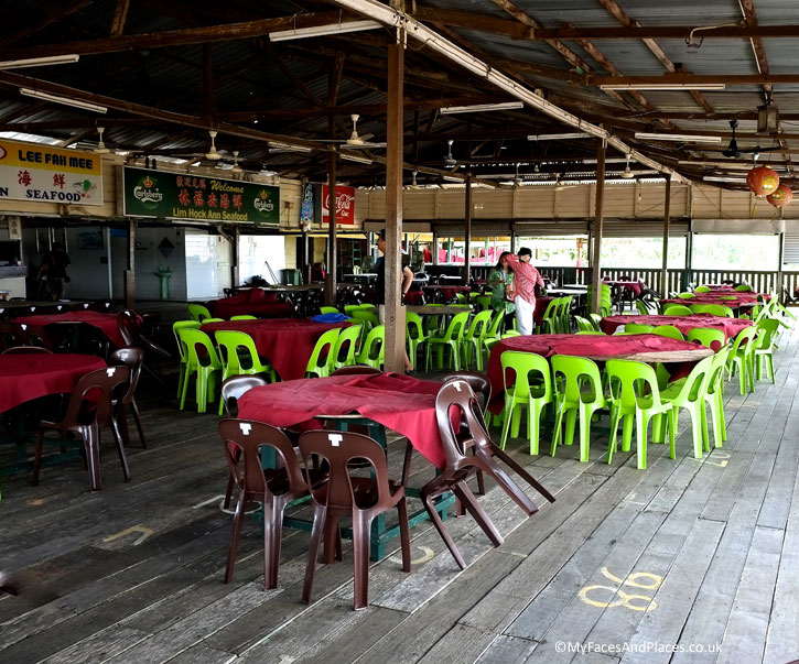 The rustic Lim Hock Ann Seafood Restaurant built over the sea in Buntal.