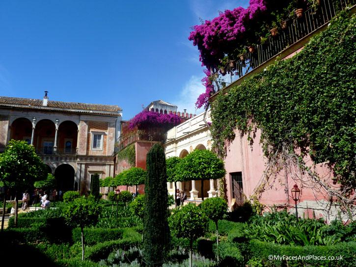 The beautiful garden of Casa de Pilatos in Seville.