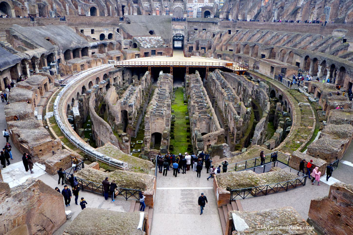 The internals areas of theColosseum in Rome (A Roman Holiday)