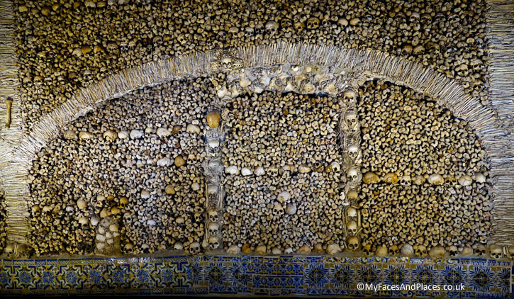 Chapel of Bones at St Francis Church in Evora. Evora is the capital of Alentejo.