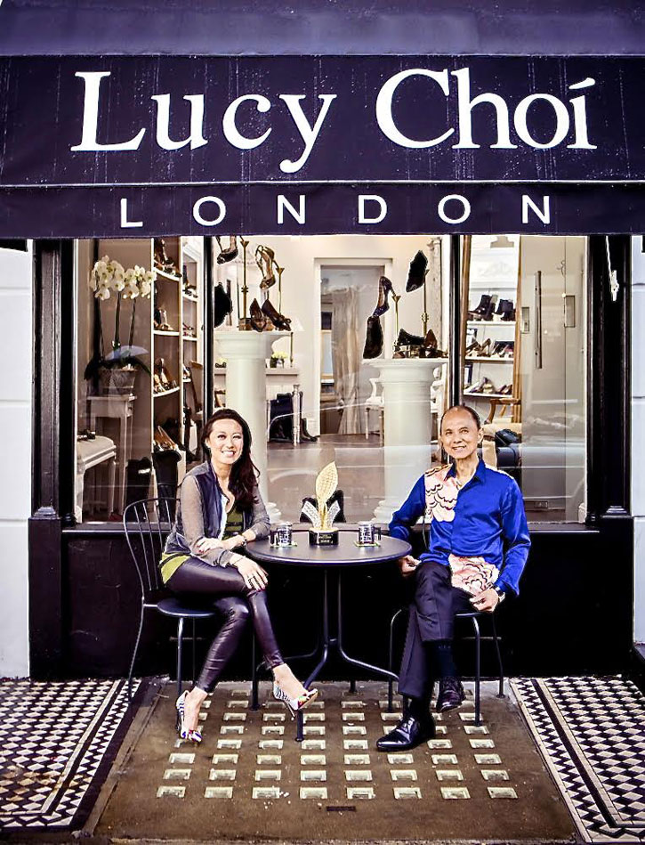 Lucy Choi with Jimmy Choo OBE in front of Lucy Choi's store in Connaught Village, London.