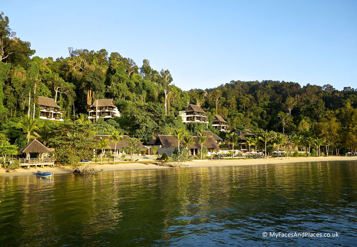 Gaya Island Resort with its chic villas nestled on the beach and hill.