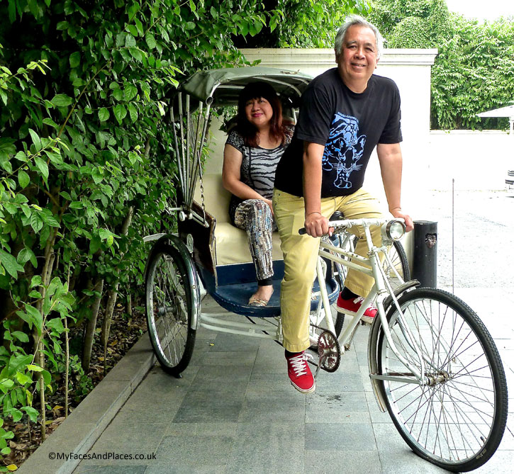 "Helen and Michael on a ""bicycle built for two"" at 137 Pillars House"