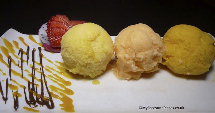 Homemade Thai fruit flavoured ice cream - Ladyboys and Mango Tree Restaurant