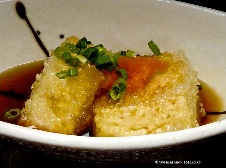 Delicious silky tofu lightedly fried and braised in soya sauce - autumn in Niseko