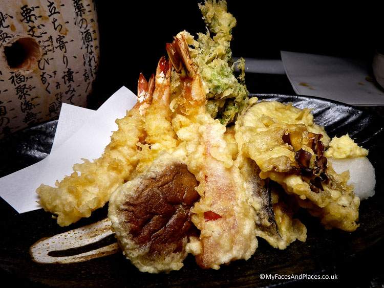 Crunchy yummy tempura of vegetables and prawns - autumn in Niseko