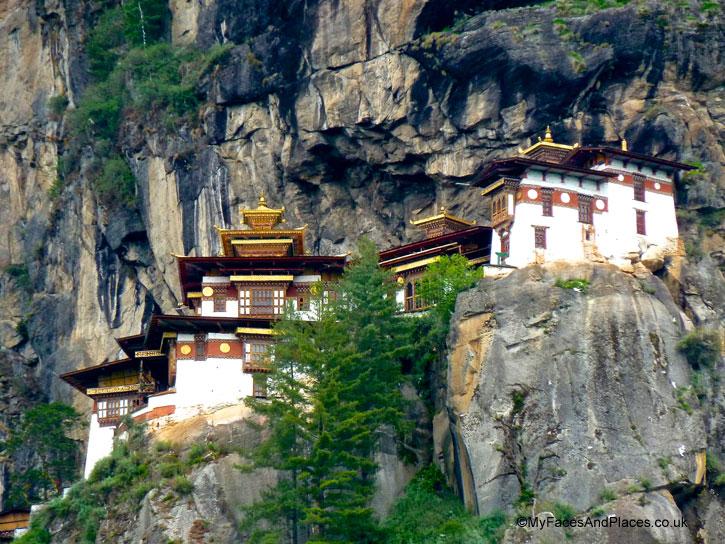 The vertiginous temples cling precariously on a cliff edge - Bhutan Tiger's Nest