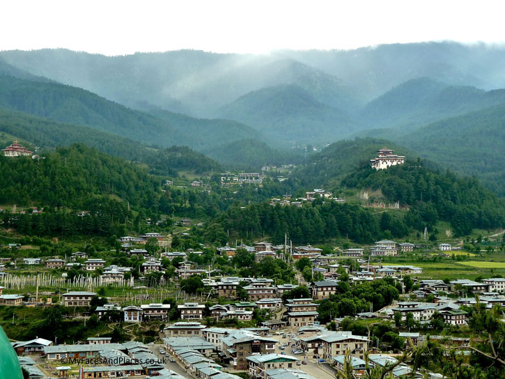 The scenic town of Jakar nestles in a beautiful valley - Bhutan the Beautiful
