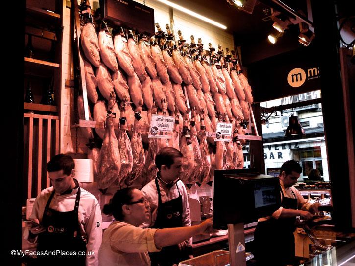 Iberico ham galore in Mercado de San Miguel